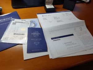 Receipt & documentation for diamond ring from Blue Nile