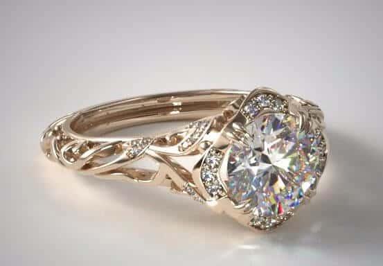 18k Yellow Gold Diamond Vintage Engagement Ring