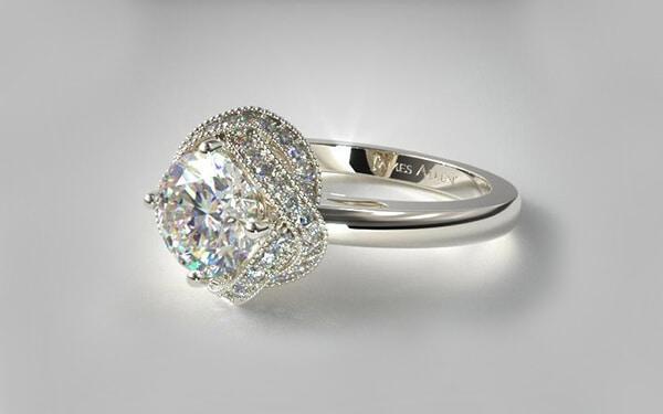 Infinity Milgrain halo engagement ring set in 14k white gold