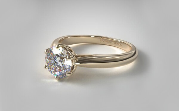 modern tulip diamond ring with six prong cathedral setting in 14k yellow gold
