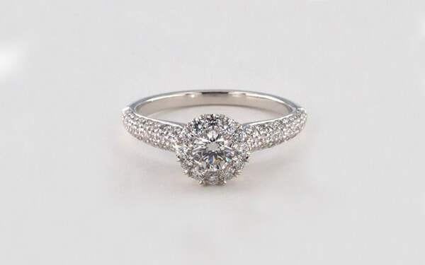 three row pave engagement ring with platinum royal halo