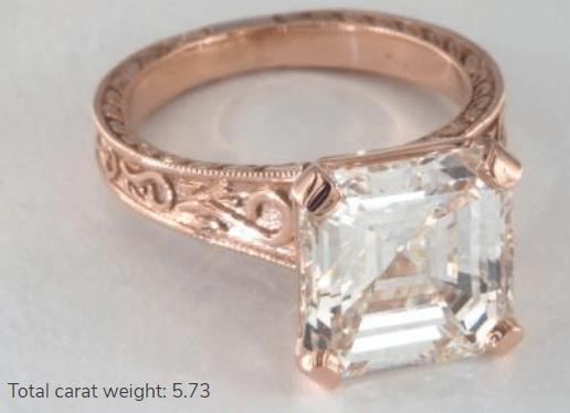 5 Carat Diamond Engagement Ring in Rose Gold