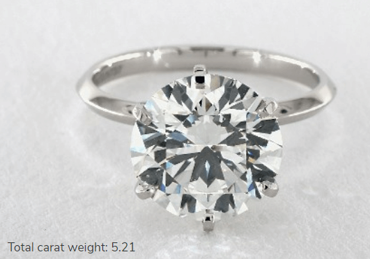 5 Carat Platinum Solitaire Engagement Ring