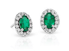 Emerald and Pavé Diamond Halo Earrings fpr Mother