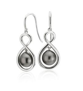 Tahitian Cultured Pearl Infinity Drop Earrings