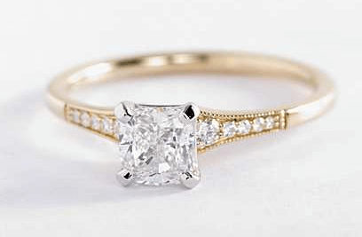 Cushion Cut Diamond Engagement Ring in a Milgrain Pave Setting
