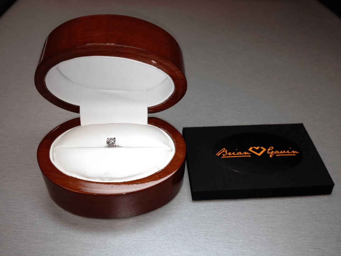 Ring in ring box from Brian Gavin Diamonds