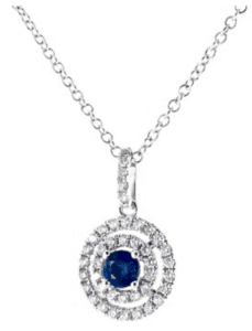 14K White Gold Double Halo Sapphire and Diamond Necklace