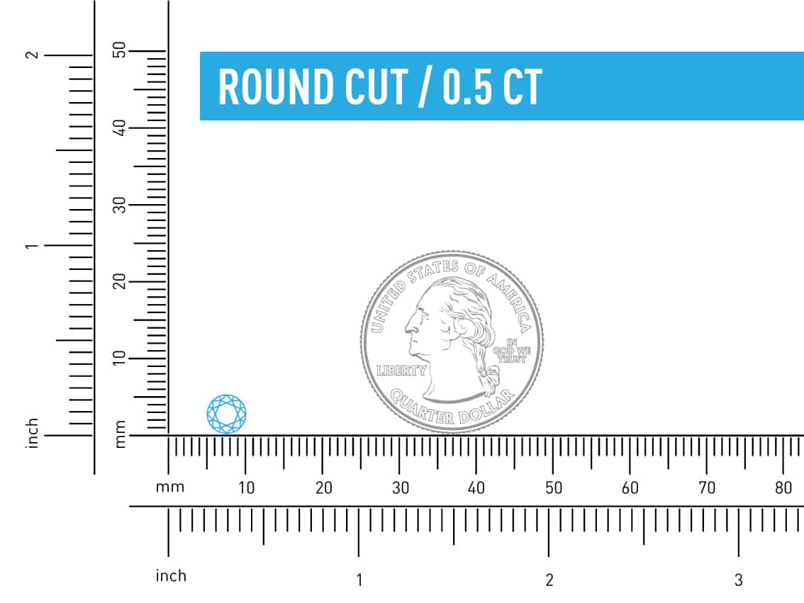 azctual size of half a carat round diamond