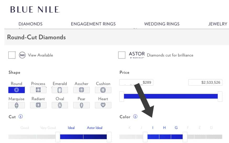 How to choose diamond color on Blue Nile
