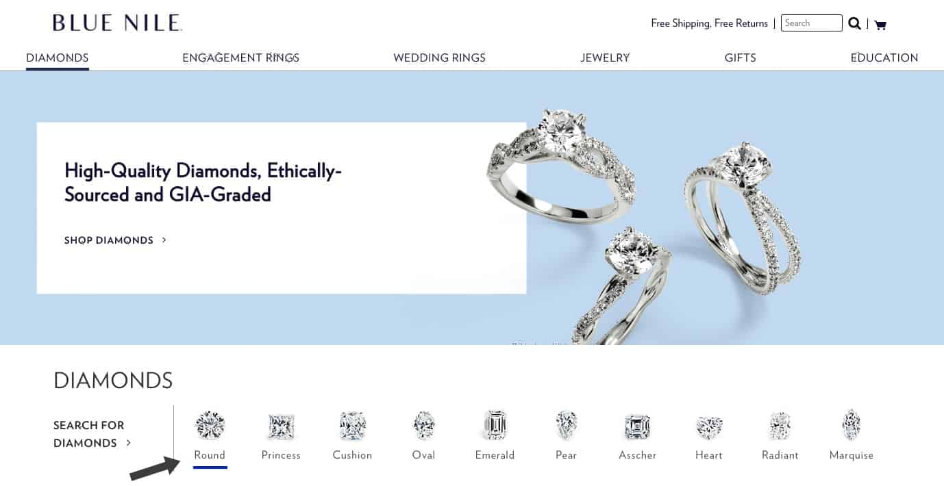 Choosing a diamond shape on Blue Nile