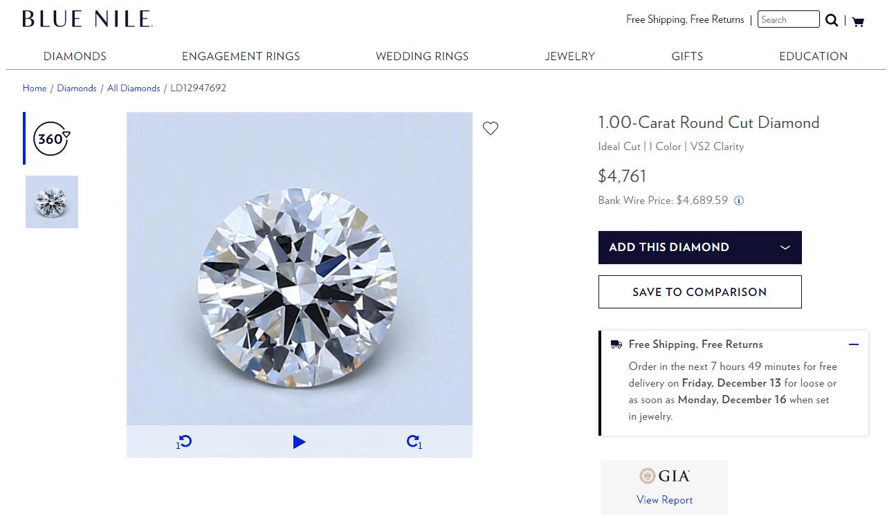Blue Nile selected diamond