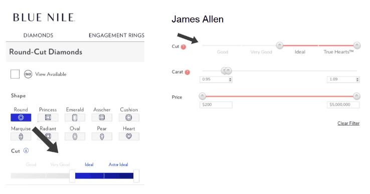 How to choose diamond cut on Blue Nile and James Allen