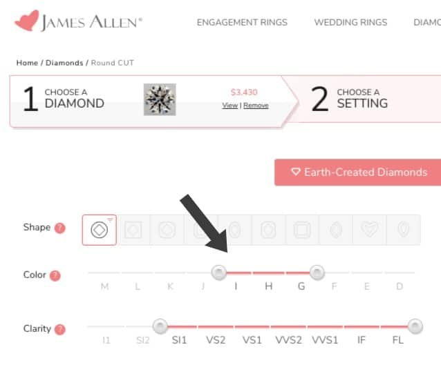 How to choose diamond color on James Allen
