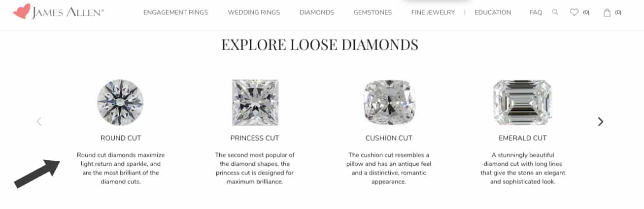 Choosing a diamond shape on James Allen