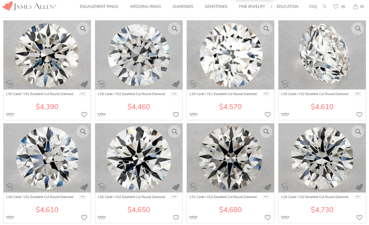 James Allen visual diamond selecting