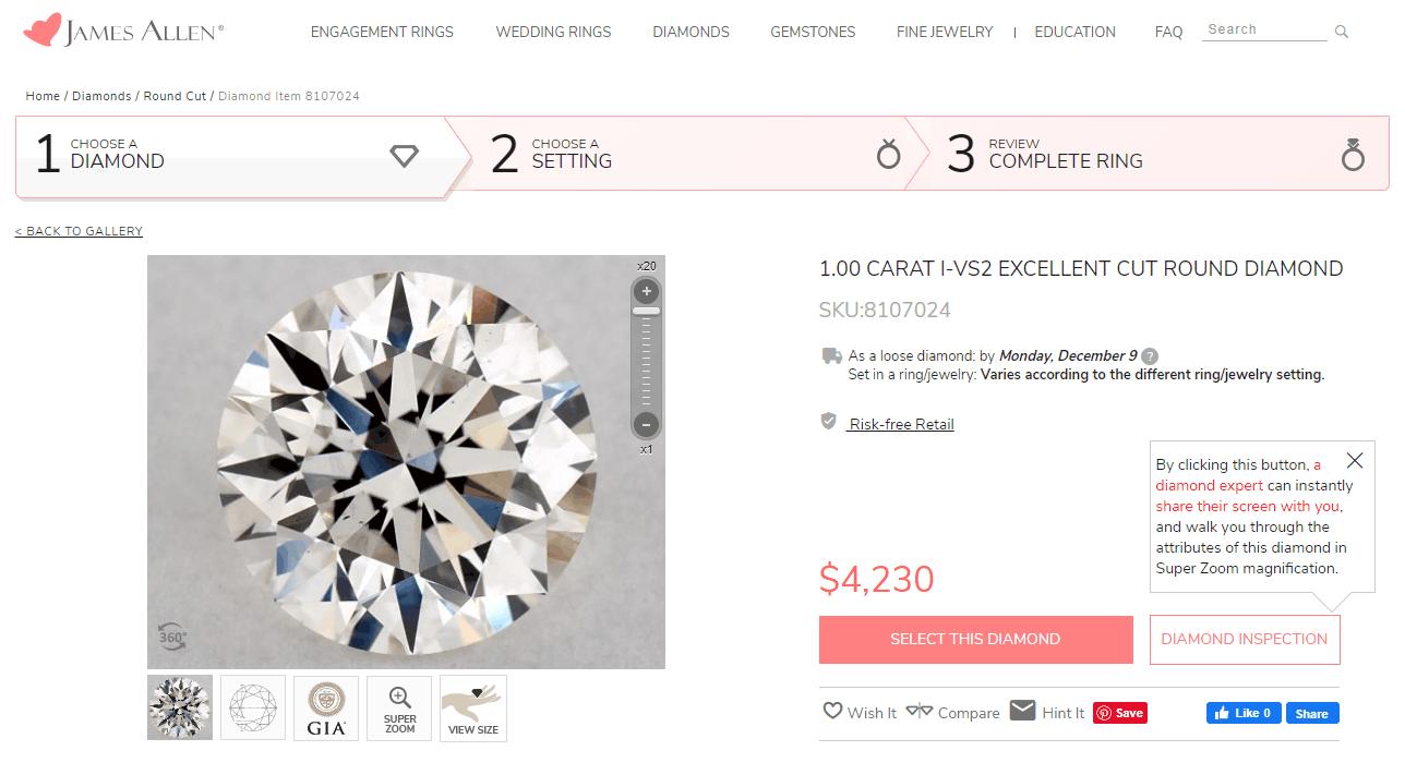 James Allen selected diamond