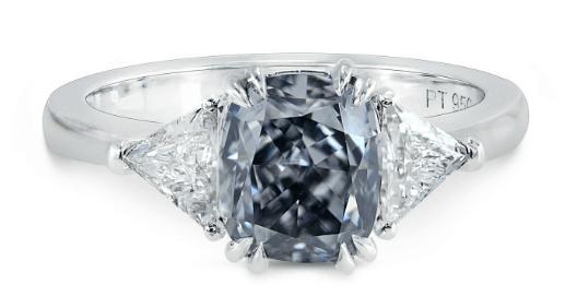 Fancy Gray-Blue Cushion Diamond Ring