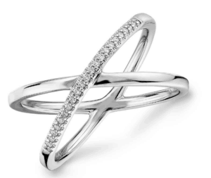 Pavé Diamond Crossover Fashion Ring for Push Present