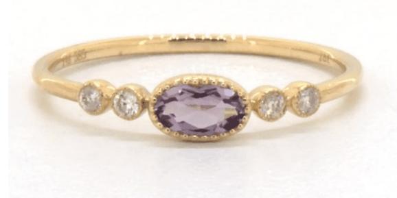 Amethyst Bezel Diamond Ring by Brevani