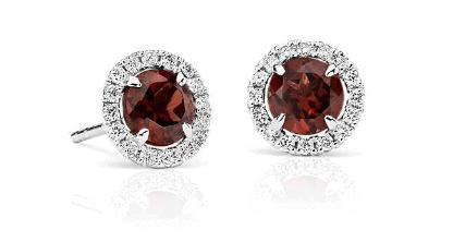 Garnet and Micropavé Diamond Stud Earrings