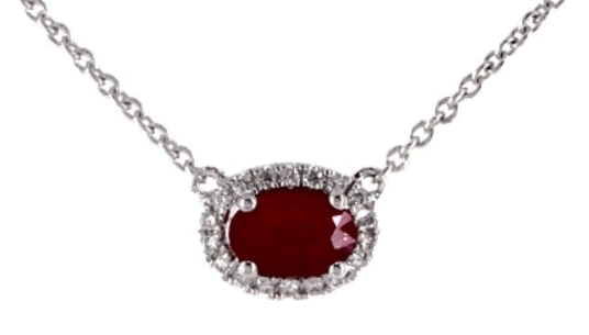 Oval Halo Ruby and Diamond Necklace