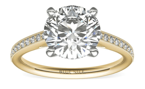 2.50ct Round Diamond in Pavé Cathedral Engagement Ring