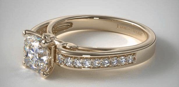 Arched Scroll Diamond Engagement Ring