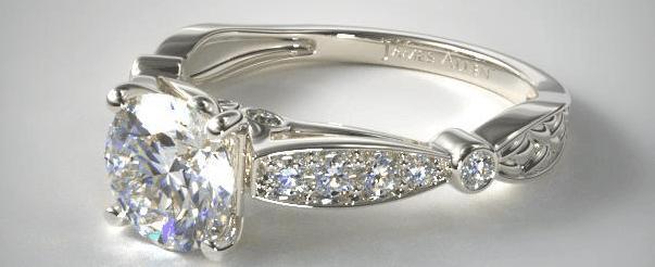 Gold Embossed Diamond Engagement Ring