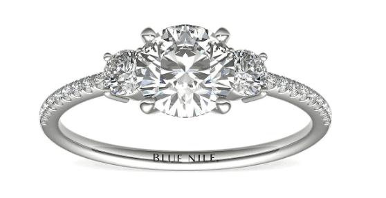 Petite Micropavé Trio Diamond Engagement Ring