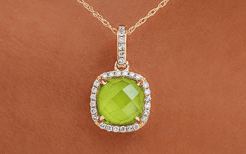 Cushion Halo Peridot And Diamond Necklace