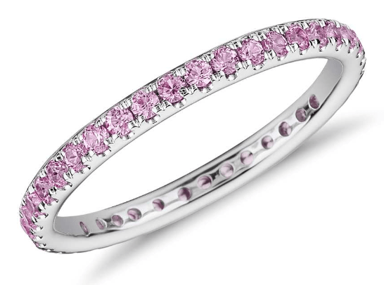 Riviera Pavé Pink Sapphire Eternity Ring