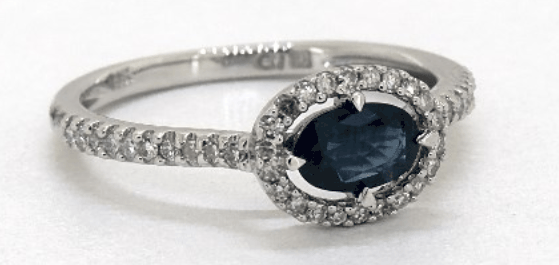 East-West Sapphire And Diamond Floating Halo Ring